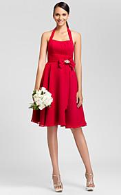 A-line Halter Knee-length Chiffon Bridesmaid Dress