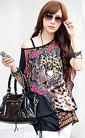Women's Leopard Print Cape Sleeve Blouse
