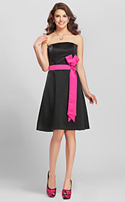 A-line Straps Knee-length Satin Modern Bridesmaid Dress with Removale Straps