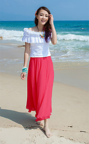 TOWN RABBIT Chiffon Red Pleat Ankle Length Skirt