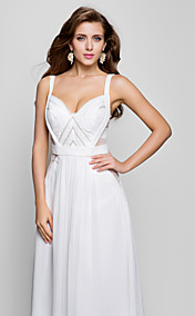 A-line V-neck Floor-length Chiffon Evening Dress  (493575)