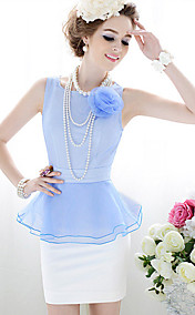 Women's Contrast Color 3D Flower Peplum Organza Splicing Bodycon Dress
