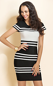 TS Stripes Short Sleeve Bandage Dress