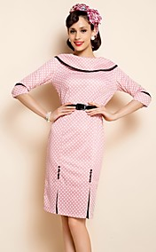 TS VINTAGE Wide Lapel Three Quarters Sleeve Dress