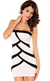 Women's Bandeau Black-white Mini Dress(Bust:86-102cm Waist:58-79cm Hip:90-104cm length:84cm)