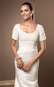 Trumpet/Mermaid Scoop Court Train Satin And Lace Wedding Dress