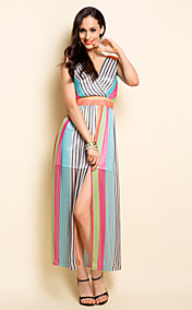TS V Neck Multicolor Chiffon Maxi Dress