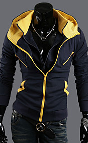 Men's Contrast Colors Two Pieces Like Slim Hoodie Jacket