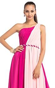 A-line/Princess One Shoulder Floor-length Chiffon Evening Dress
