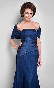 Trumpet/Mermaid Strapless Floor-length Lace Mother of the Bride Dress With A Wrap