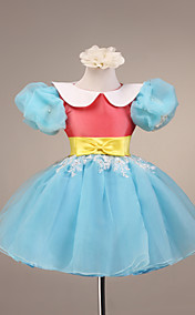 Ball Gown Short Puff Sleeve Tulle And Satin Flower Girl Dress
