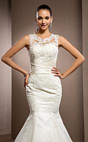 Trumpet/Mermaid Jewel Court Train Lace Wedding Dress