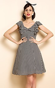 TS VINTAGE Houndstooth Chiffon Ruffle Dress