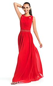 Sheath/Column Jewel Floor-length Chiffon Evening Dress