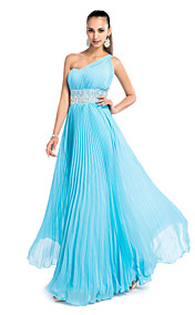 Sheath/Column One Shoulder Floor-length Chiffon Evening/Prom Dress With Pleats