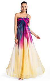 A-line/Princess One-shoulder Floor-length Chiffon Printing Evening Dress