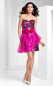 A-line/Princess Strapless Short/Mini Sequined Cocktail dress