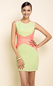 TS Light Neon Contrast Color Sleeveless Dress