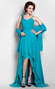 A-line V-neck Asymmetrical Chiffon Mother of the Bride Dress With A Wrap