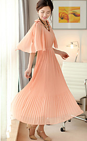Women's Round Collar Ruffled Pleated Slim Waist Dress