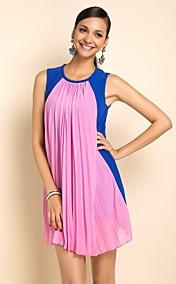 TS Pleats Contrast Color Sleeveless Dress