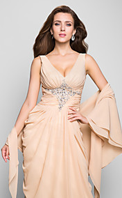 Sheath/Column V-neck Floor-length Chiffon Evening Dress With A Wrap