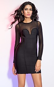 Sheath/Column Jewel Short/Mini Bandage Dress With Long Sleeve