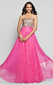 A-line Princess Sweetheart Floor-length Sequined Evening Dress