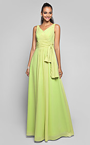 Sheath/Column V-neck Floor-length Chiffon Evening/Prom Dress