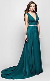 A-line Princess V-neck Sweep/Brush Train Chiffon Evening dress