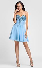 A-line Sweetheart Short/Mini Chiffon Cocktail Dress