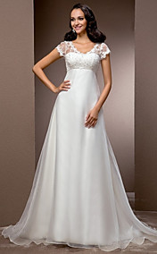 Free Custom measurements! A-line V-neck Court Train Organza And Lace Wedding Dress
