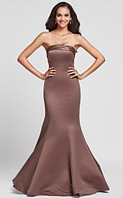 Trumpet/Mermaid Strapless Floor-length Satin Bridesmaid Dress