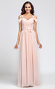 Sheath/Column Off-the-shoulder Floor-length Chiffon Bridesmaid Dress