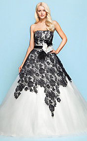 Ball Gown Strapless Chapel Train Lace And Tulle Wedding Dress