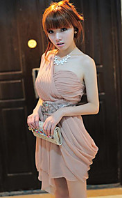 Women's One Shoulder Pleats Gathered Asym Hem Dresses