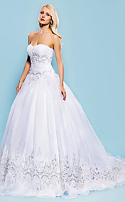 Free Custom Measurements!  Ball Gown Sweetheart Court Train Organza Wedding Dress