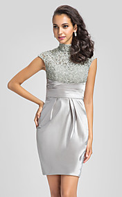 Sheath/Column High Neck Lace And Stretch Satin Cocktail Dress