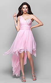 A-line One Shoulder Asymmetrical Chiffon Cocktail/Prom Dress