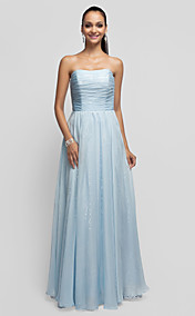 A-line/Princess Strapless Floor-length Chiffon Evening Dress With Sequins
