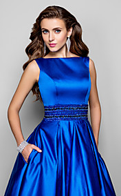 Ball Gown Bateau Floor-length Satin Evening Dress