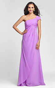 Sheath/Column One Shoulder Floor-length Chiffon Bridesmaid Dress