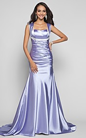 Trumpet/Mermaid Straps Sweep/Brush Train Stretch Satin Evening Dress