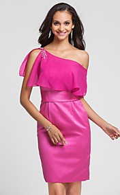 Sheath/Column One Shoulder Knee-length Satin And Chiffon Bridesmaid Dress