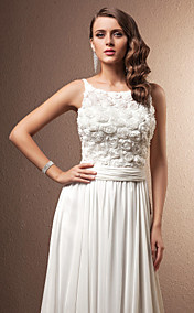 A-line/Princess Straps Court Train Chiffon Wedding Dress