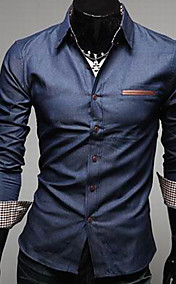 Men'S Leather Pocket Slim Denim Shirt