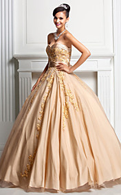 Ball Gown Sweetheart Floor-length Tulle And Satin Evening/Prom Dress