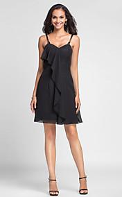 Sheath/Column Spaghetti Straps Short/Mini Chiffon Bridesmaid Dress
