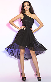 Sheath/Column One Shoulder Chiffon Cocktail Dress
