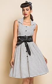 TS VINTAGE Stripes Belted Skater Dress